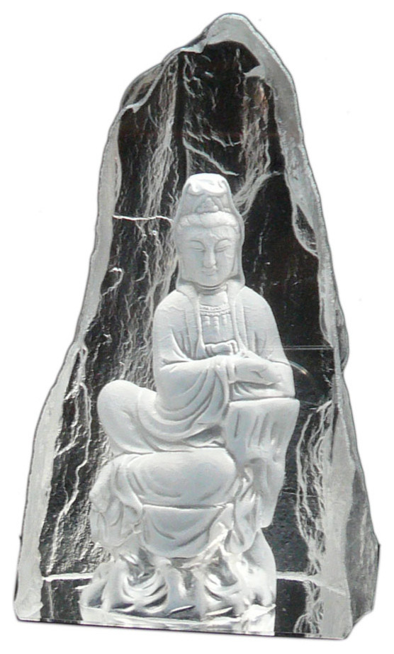 Asian Gott Glas Figuren - mit Felsen hinter