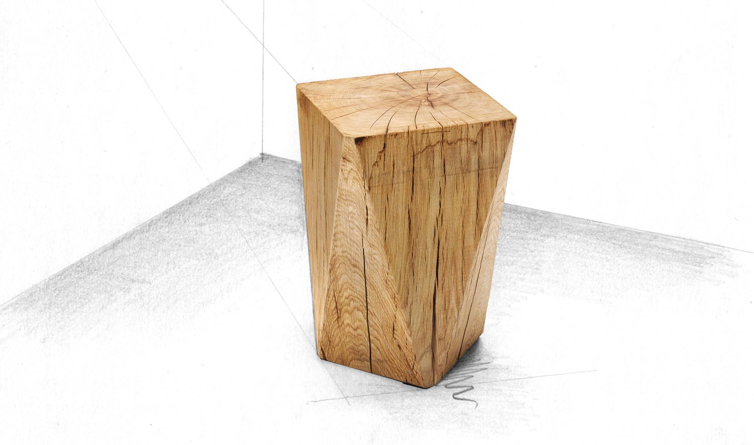 Kubus - Hocker-Design-Hocker Holz