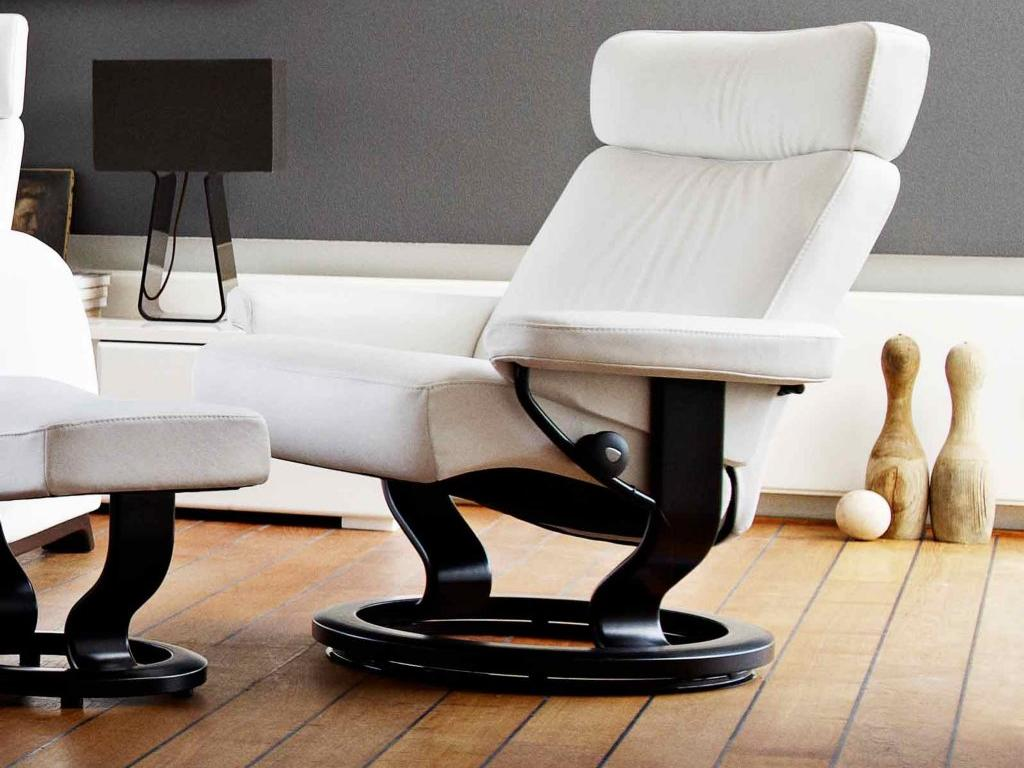 Sessel-stressless Wiess hocker-design-modern-Relaxsessel