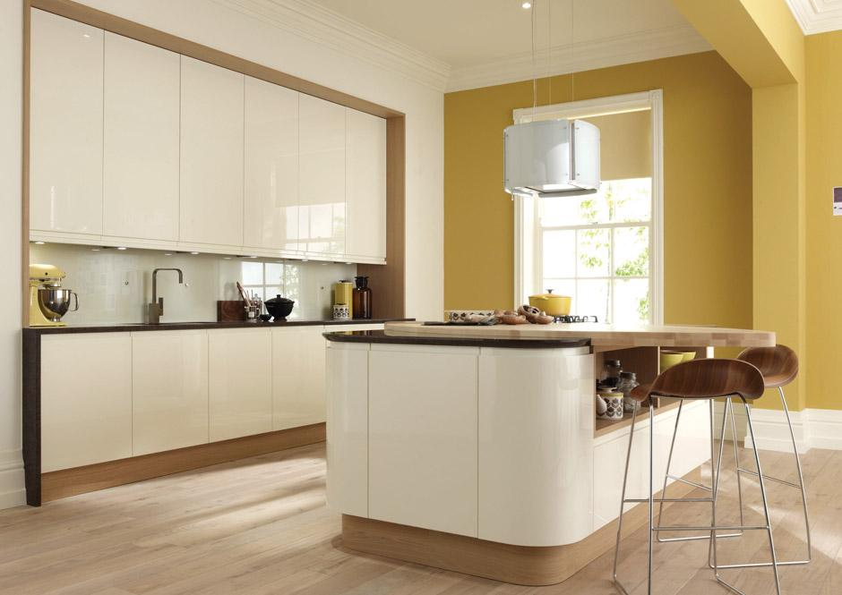 Full Height Door White Grey Two Tone Stripe Kitchens