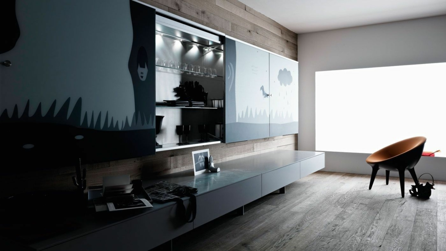 interessante ideen f r moderne schrankw nde im wohnzimmer. Black Bedroom Furniture Sets. Home Design Ideas