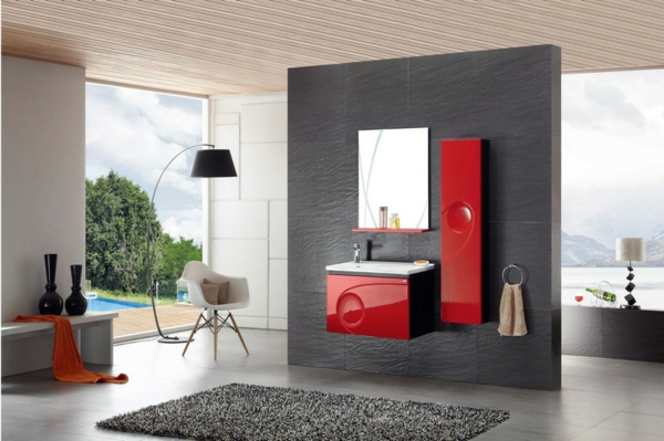 modernes badezimmer design in rot ideen top. Black Bedroom Furniture Sets. Home Design Ideas