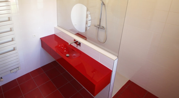 Modernes Badezimmer Design In Rot Ideen Top