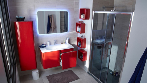 Modernes Badezimmer Design in Rot | Ideen.Top